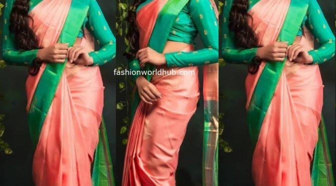 Meenakshi Govindharajan in  peach silk saree!