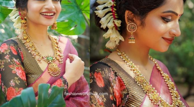 Nakshathra Nagesh in a pink saree!