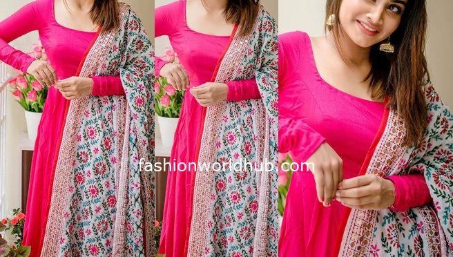 Shivani Narayan in a pink Anarkali suit!