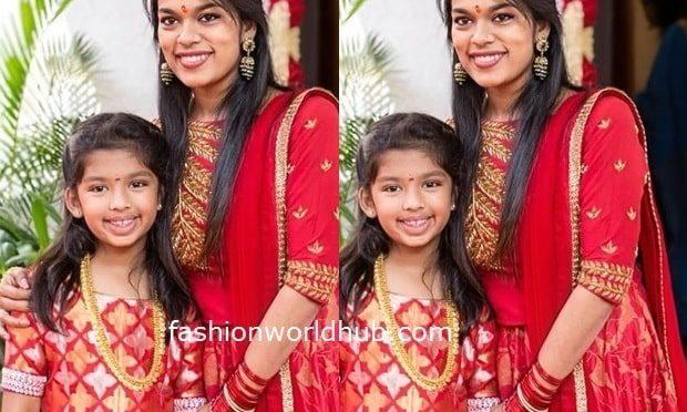 Sreeja kalyan and her daughter Nivrithi twinning in Red!