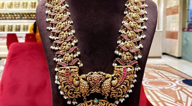 Gold Long chain designs by Naj Jewellers!