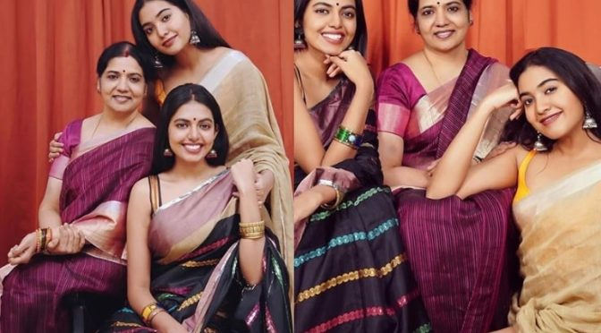 Jeevitha, Sivani and Sivatmika in traditional saree!