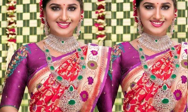 Meghana Lokesh in a Red paithani silk saree!