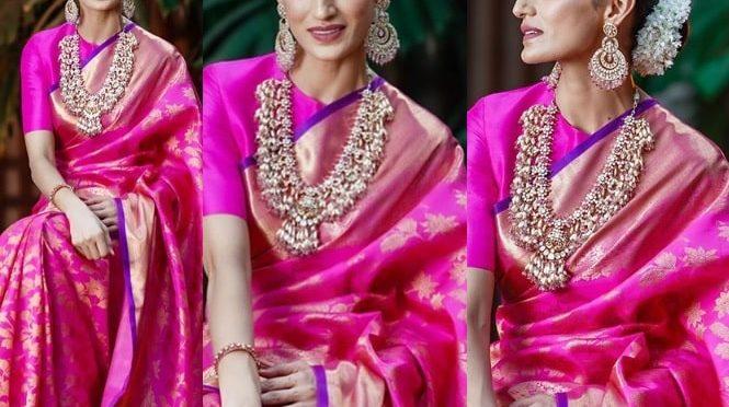 Shilpa reddy in a pink Kanjeevaram saree!