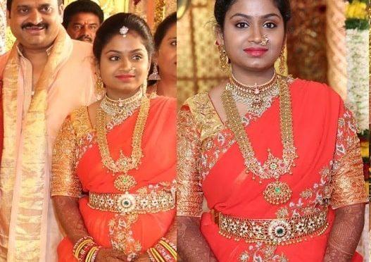 Producer bandla ganesh daughter in Kanjeevaram Lehenga!