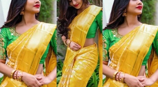 Nabha Natesh in a yellow silk saree!