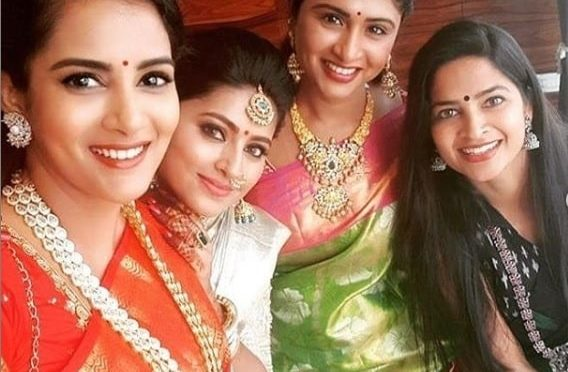 Sneha, himaja and Madhumitha in traditional Sarees!