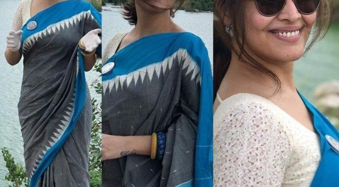 Anasuya Bharadwaj in Pochamaplly handloom saree