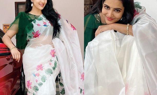 Himaja in a Floral print organza saree!