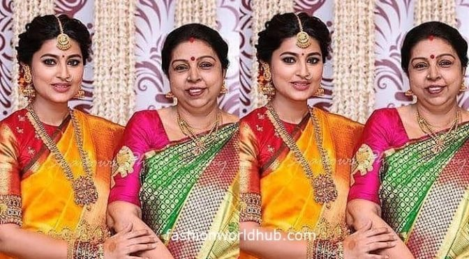 Actress Sneha and her mom in Kanjeevaram saree!