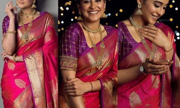 Reginaa cassandraa in a pink silk saree!