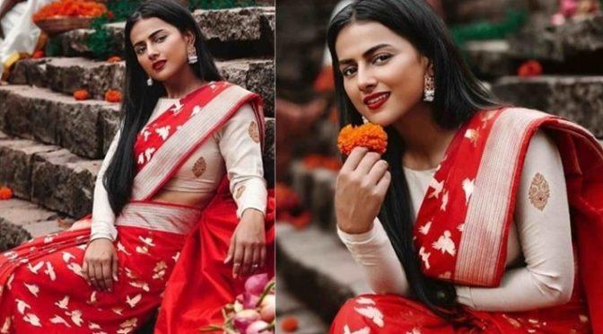Shraddha Srinath in a Red banarasi silk saree