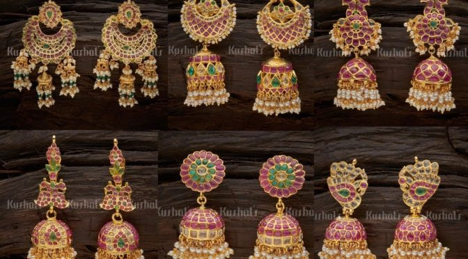 One gram gold Uncut polki ear rings ( Buy online)