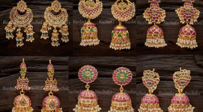 One gram gold Uncut polki ear rings ( Buy online)