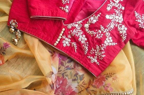 Designer sarees with designer blouses!