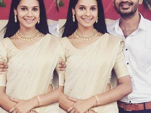 Anusha Hegde in a gold silk sare!