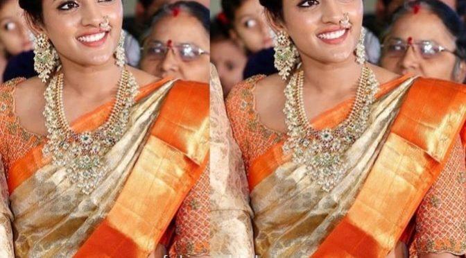 Eesha Rebba in a Gold kanjeevaram saree!
