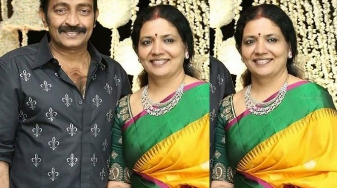 Actress Jeevitha Rajasekhar in a yellow silk saree!