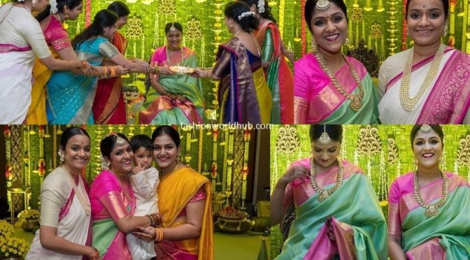 Mahanati producer Swapna Dutt in a green silk saree!