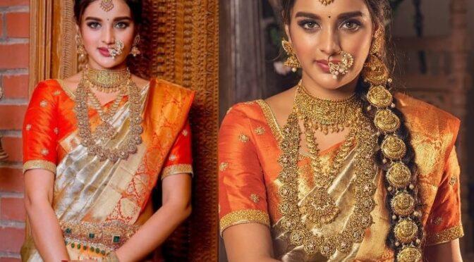 Niddhi agerwal  in a Gold kanjeevaram saree!