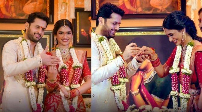 Actor Nithiin and Shalini Engagement Photos