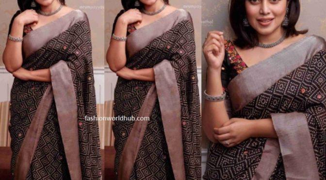 Poorna in a Printed black saree!