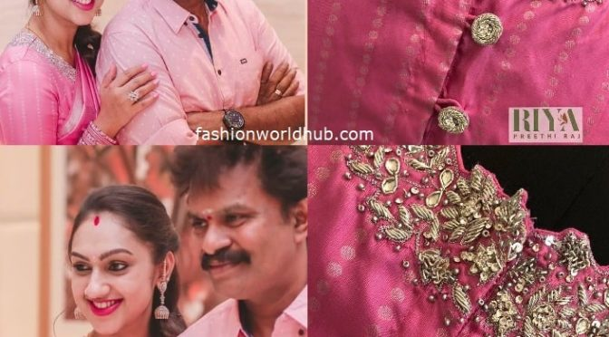 Preetha hari in Pink high neck silver zardosi work blouse.