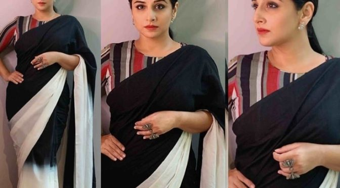 Vidya Balan in a black and white shaded mulmul saree!