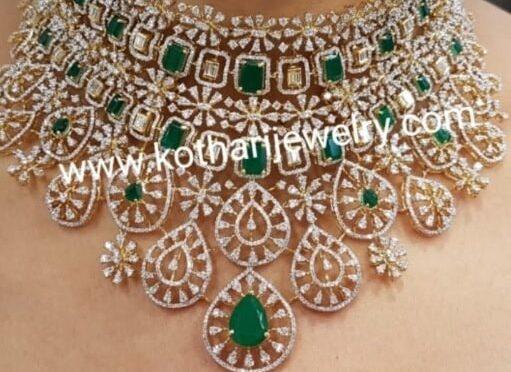 Heavy diamond emerald choker