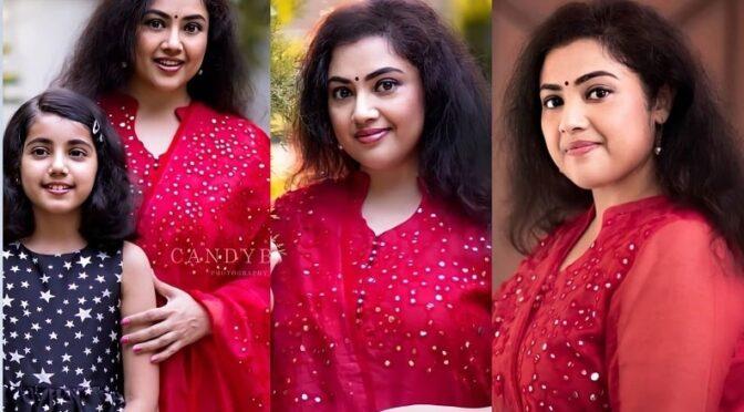Actress Meena in a red salwar!