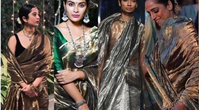 Metallic Silk sarees from the Label Akaaro!