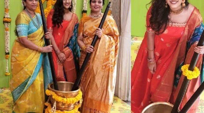 Niharika konidela in Red floor length Anarkali for Haldi event!