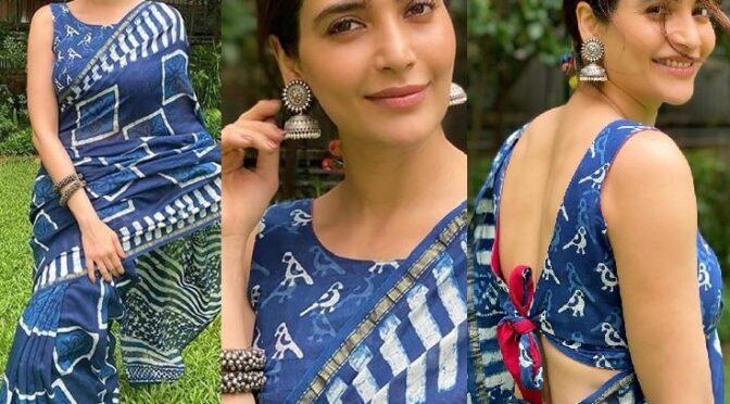 Karishma Tanna in a blue chanderi saree!