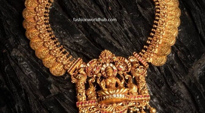 Antique Kasu necklace with Lakshmi pendant