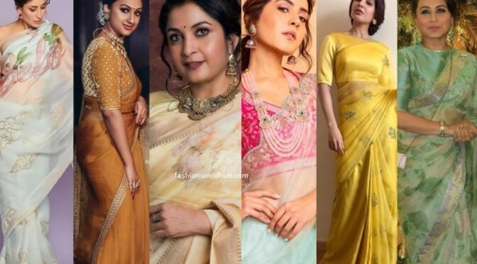 Celebrity inspired Organza Sarees!