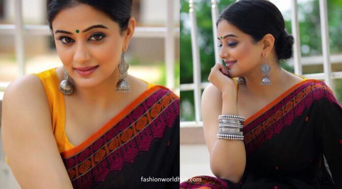 Priya Mani in a black Mulmul saree!