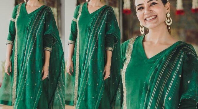 Samantha Akkineni in a green salwar suit!