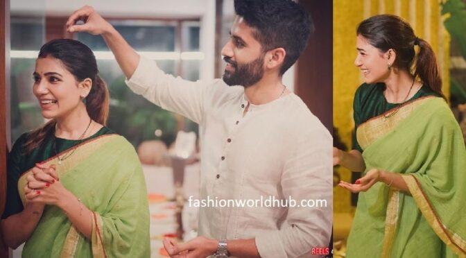 Samantha and Naga chaitanya in Handloom outfits!