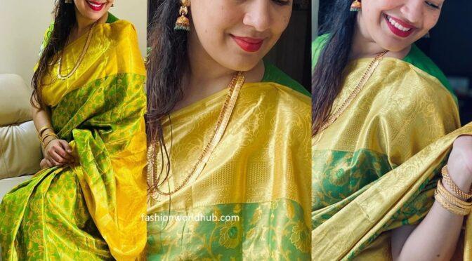 Singer Geetha madhuri in a green silk saree!
