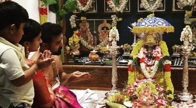 Ganesh Chaturthi 2020 : Actress Sneha prasanna family