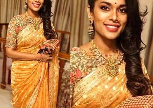 Sreeja kalyan in a banarasi silk saree!