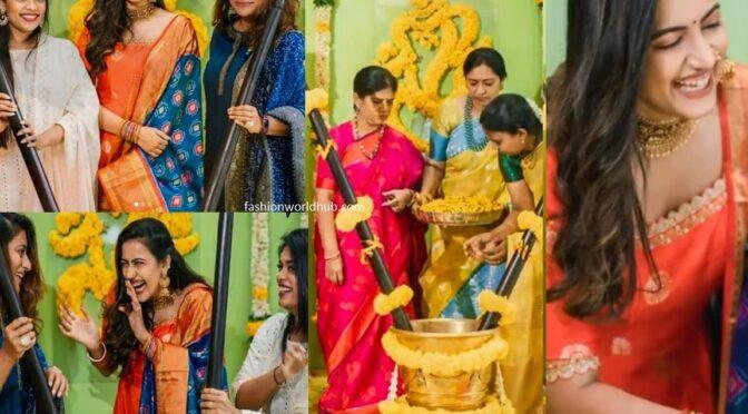 Sreeja and Sushmitha at Niharika Konidela's Pasupu Ceremony Photos!