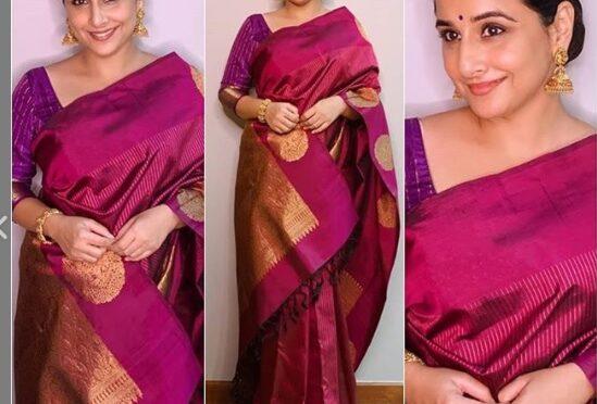Vidya Balan in a pink kanjeevaram saree!
