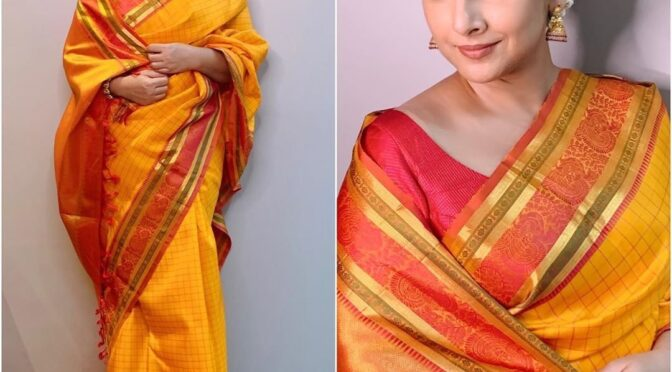 Vidya Balan in Yellow Silk saree!
