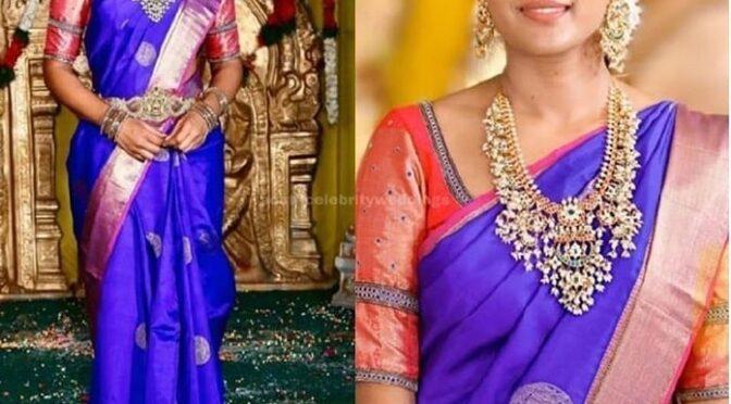 Eesha rebba in a blue silk saree!