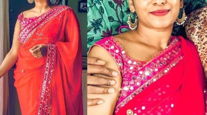Jahnavi in a red designer saree!
