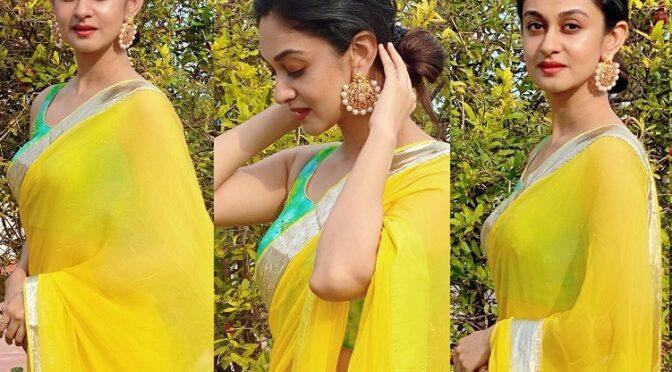 Aishwarya arjun in a yellow saree!