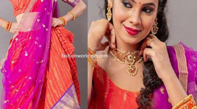 Anusha Hegde in Traditional half saree!