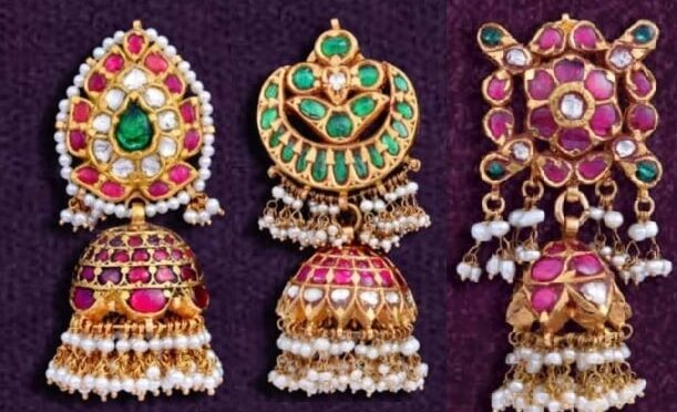 Gold Kundan jhumki designs