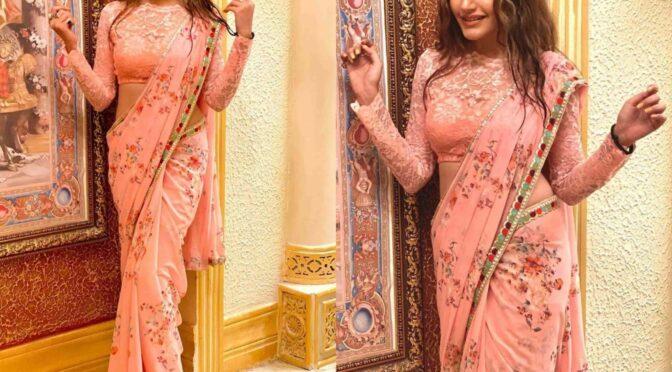 Surbhi Chandna in a floral print saree